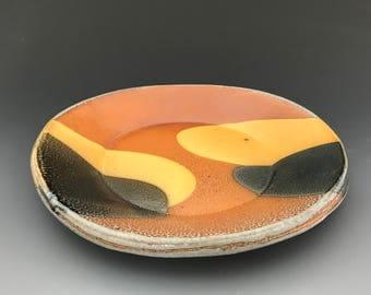 Lunch Plate - Salad Plate - Hand Built Pottery - Slab Formed - Soda Glazed - Tokyo Design - Ron Philbeck (TKO2PLT)