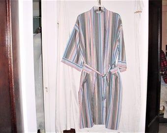 Vintage 90s Mans Pastel Stripe Bath Robe One Size Jockey Thin Poly Cotton As Is