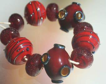 Red Volcano - Handmade Lampwork Hollow Beads Set SRA