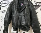 Leather jacket, size 48, biker jacket, allstate leather, motorcycle jacket, black leather jacket, coat, biker, rock n roll, marlon brando