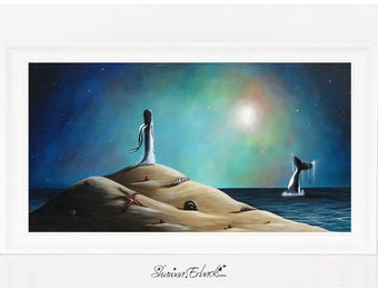 On The Midnight Tide - Dreamscape Art - Limited Edition Print - Faery - Archival Print - Signed by Artist - Beautiful Dreamy - Fairy - Orca