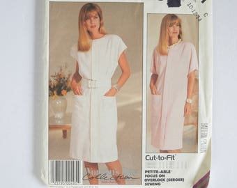1980s UNCUT Vintage McCall's Easy Sewing Pattern 2911 Womens Straight Pullover Dress, Short Sleeves or Sleeveless, Jewel Neck Size 10,12,14