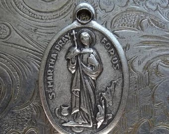 CLEARANCE SALE St. Martha 1940's Italian Catholic Silver Medal Patron Saint Of Cooks, Servants, Waitresses Pray For Us, Slaying Dragon With