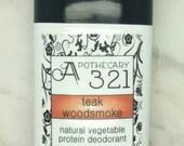Teak Woodsmoke Natural Deodorant, Aluminum Free, Paraben Free Vegan Deodorant Amber Patchouli Autumn Leaves