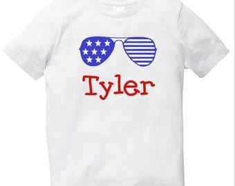 SALE Boys July 4th shirt with name and sunglasses