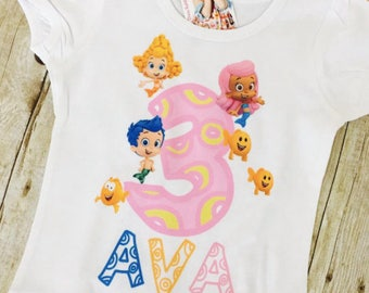 RESERVED Bubble Guppies birthday shirt with name for boy or girl
