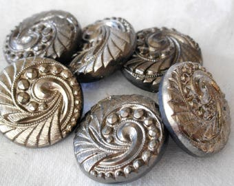 Set of 6 VINTAGE Silver Luster Swirl Design Black Glass BUTTONS