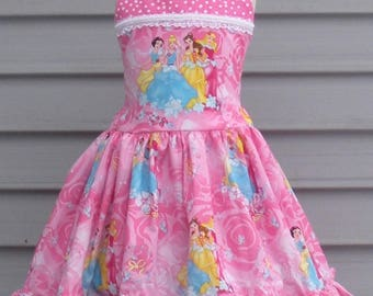 Ready to Ship Custom Pink Disney Princess  Snow White Cinderella Belle Aurora Girl dress  will fit Size 5 or 6