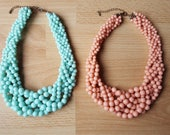 SALE - Beaded Statement Necklaces - Mint or Coral with Gold Chain Extender - Bella Mia Beads - READY to SHIP