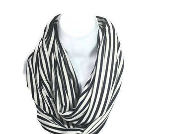Navy Blue and White Striped Infinity Scarf Blue and White Stripe Infinity Scarves Summer Scarves Jersey Knit Scarves Striped Fashion Scarves