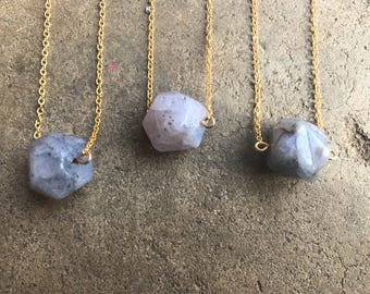 Blue Lace Agate Choker 16 inch Purple Icy Blue necklace