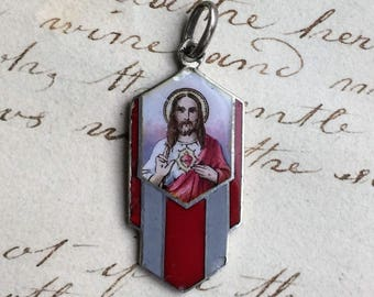 Antique Hand-painted Sacred Heart of Jesus Medal