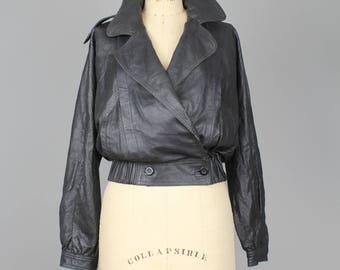 Vintage Italian Leather Bomber Jacket | Black Leather Moto Jacket | Black Leather Jacket | s-m