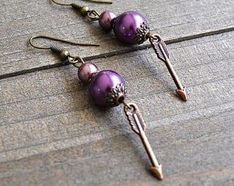 Arrow Earrings Bronze & Copper With Purple Glass Pearls Design Artisan Arrow Earrings Swarovski Glass Pearl Beads Poison Arrow