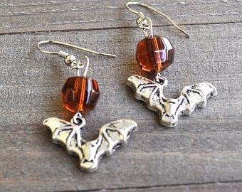 Silver Bat Earrings Vintage Faceted Amber Colored Beads Vampire Bat Jewelry Halloween Bats Spooky Bat Gothic Costume Attire Vamp  Bat Motif