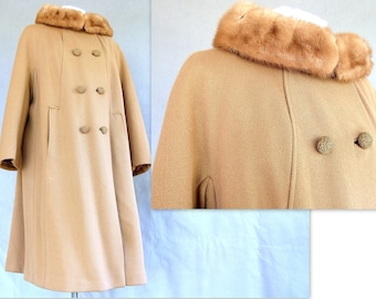 1950's Fur Collar Coat, Vintage Light Brown Holly Gab Winter Coat, Fits a Size 14, Large