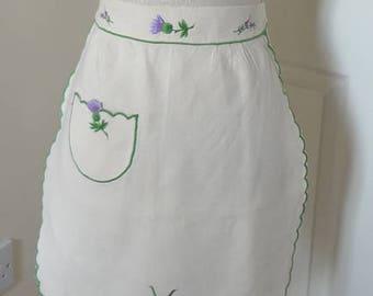 Thistle Half Apron Embroidered on Linen Scottish Scotland Purple Housewarming Wedding Gift - EnglishPreserves
