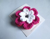 CLEARANCE Crochet Flower Hair Clip Flower Barrette Red Hair Clip Hot Pink Hair Clip White Hair Clip Red Flower Hot Pink Flower White Flower