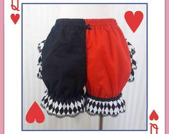 Queen of hearts harlequin fancy ruffle short bloomers adult women