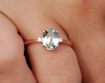 Engagement Ring Rose gold engagement ring Mint Green Sapphire ring Blake Lively ring oval cut Rose gold diamond ring 1.6ct sapphire ring