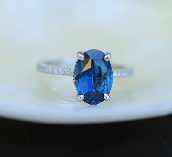 Blake Lively Ring Navy Blue sapphire ring 14k white gold diamond ring 2.75ct navy blue sapphire ring by Eidelprecious