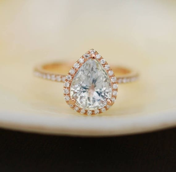 Ice Peach Sapphire Ring Rose Gold Engagement Ring 1.8ct cushion 14k rose gold diamond ring.