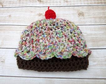 Crochet Baby Cupcake Hat, Newborn Baby Hat, Smash Cake Baby Girl, Newborn Girl Beanie, Infant Girl Winter Hat, Newborn Prop