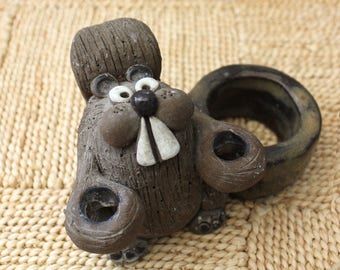Billy the Beaver. Vintage 1970s stoneware figurine and candle holder.