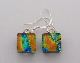 Tiny dichroic glass earrings