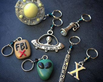 Believe: The Truth is Out There - Set of 7 X-Files Inspired Stitch Markers for Knitters and Crocheters