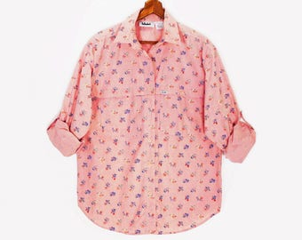 80's DUSTY PINK button up shirt // cotton sailcloth boy shirt // vintage oversized slouch shirt // women's M