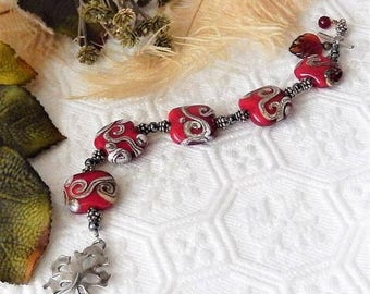 ChristmasInJulySALE..... Sale......One of a Kind Sterling Silver, Lampwork Glass and Hematite Bracelet