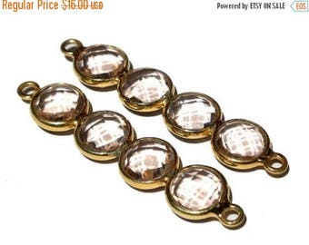 Sale 45% off 1 Pc Rhodolite Quartz 4 Faceted Coin Attached Bezel Set Bar Connector 47mm double loop pendant gold or silver plated you select