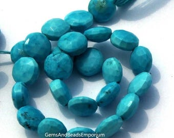 50% Off Sale 1/2 Strand Finest Quality Turquoise Faceted Coin Beads Size 8x8 mm / Semiprecious Gemstone Beads / Gorgeous Beads Great Price