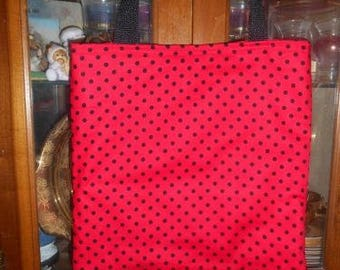 Polka Dot Tote Bag Red & Black Spring Summer Handmade Purse Only One