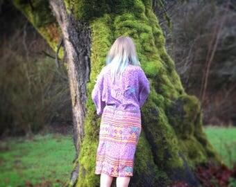 Silk Kimono Robe - embroidered sequin embellshment! Upcycled Sari Silk - Fits Small - xl