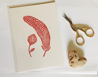 Natural collection. Linocut card.