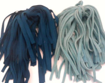 77 Hand Dyed Wool Rug Hooking Strips Dark Turquoise & Lt. Turquoise