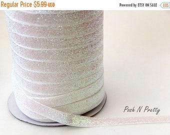 20% OFF EXP 06/30 5/8 Glitter Stretch Velvet Elastic 5 YARDS - No Flake - Sparkle White