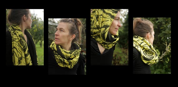 Neck shawl/neck scarf yellow/black with flowers, lined Heather grey