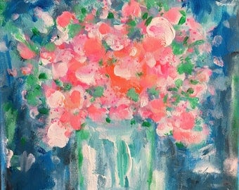 Blissful Blooms Acrylic Painting Abstract Style, Painted on Wide edge Canvas 30cm x 30cm