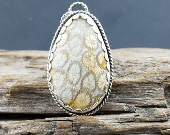 "Fossil coral and argentium ""Summer Shandy"" pendant"