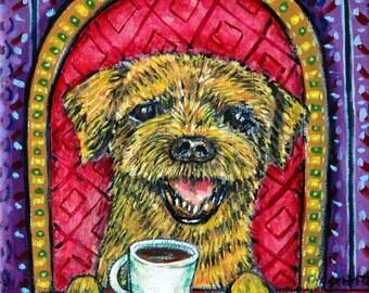 20 % off storewide border terrier coffee dog art PRINT  JSCHMETZ modern abstract folk pop art american ART gift