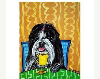 20% off storewide Shih Tzu at the Coffee Shop Dog Art Print