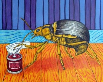 20% off Beetle Opening a Can (Can Opener) Insect Art TIle Coaster
