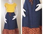 70s Buzzy Borden Chambray Floral A-line Ruffle Skirt, Medium