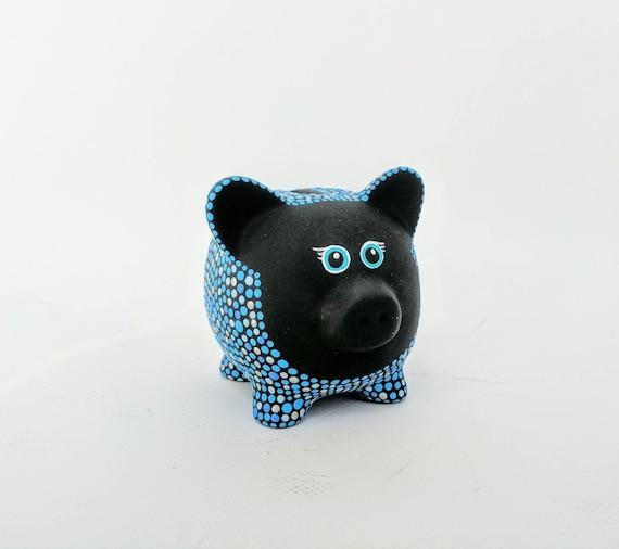 Blues Piggy Bank: Hand painted Piggy Dot painting