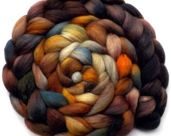 Roving Hand Dyed Polwarth Mohair Silk Combed Top - Hardwood, 5.4 oz.