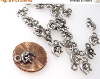 50% Off 25 Moon and Star Charms Antique Silver 12x7mm C0177