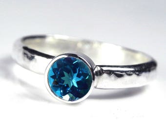 Blue Topaz Engagement Ring - London Blue Topaz Ring - December Birthstone - Gemstone Engagement Ring - Gemstone Stack - Silver Stacking Ring